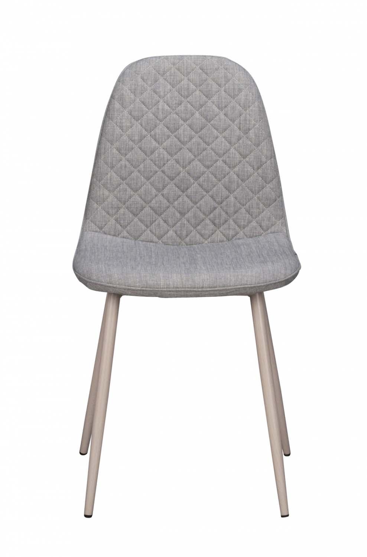 Image of   Aston spisebordsstol - gråt stof og hvide metalben