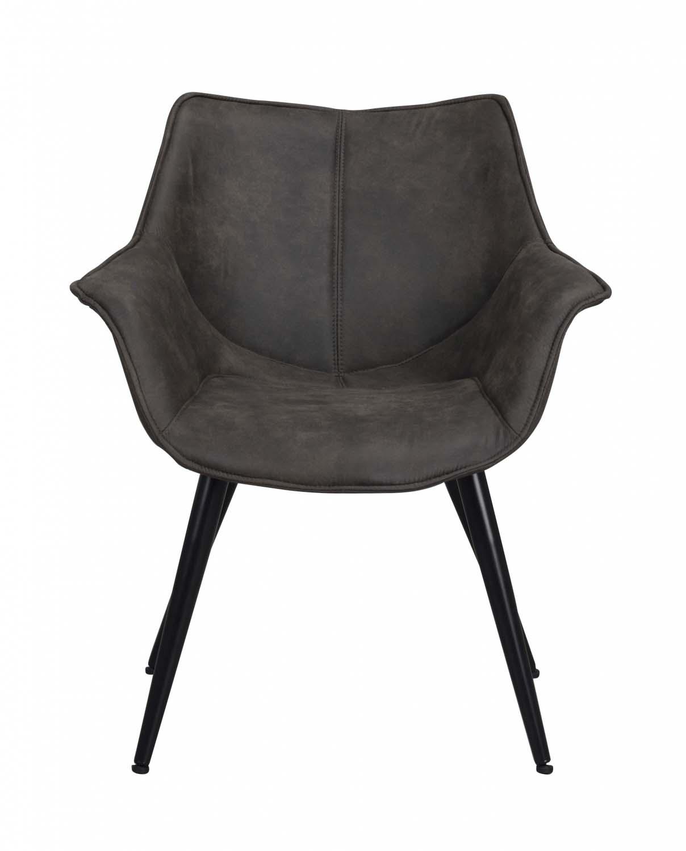 ROWICO Echo spisebordsstol - mørkegråt stof/sorte metalben, m. armlæn