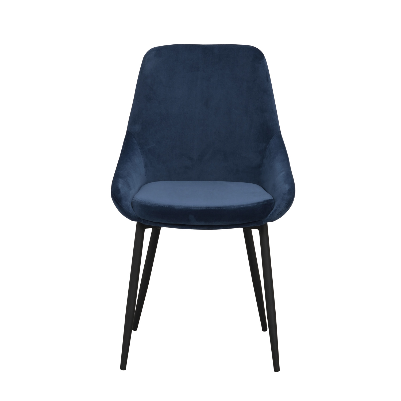 ROWICO Sierra spisebordsstol - mørkeblå polyester og sort metal