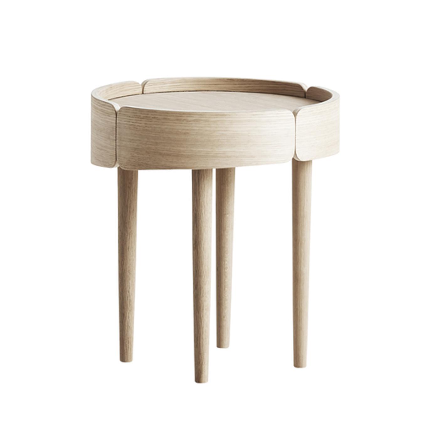 WOUD Skirt lille sofabord - natur egetræsfinér og egetræ, rund (Ø40)