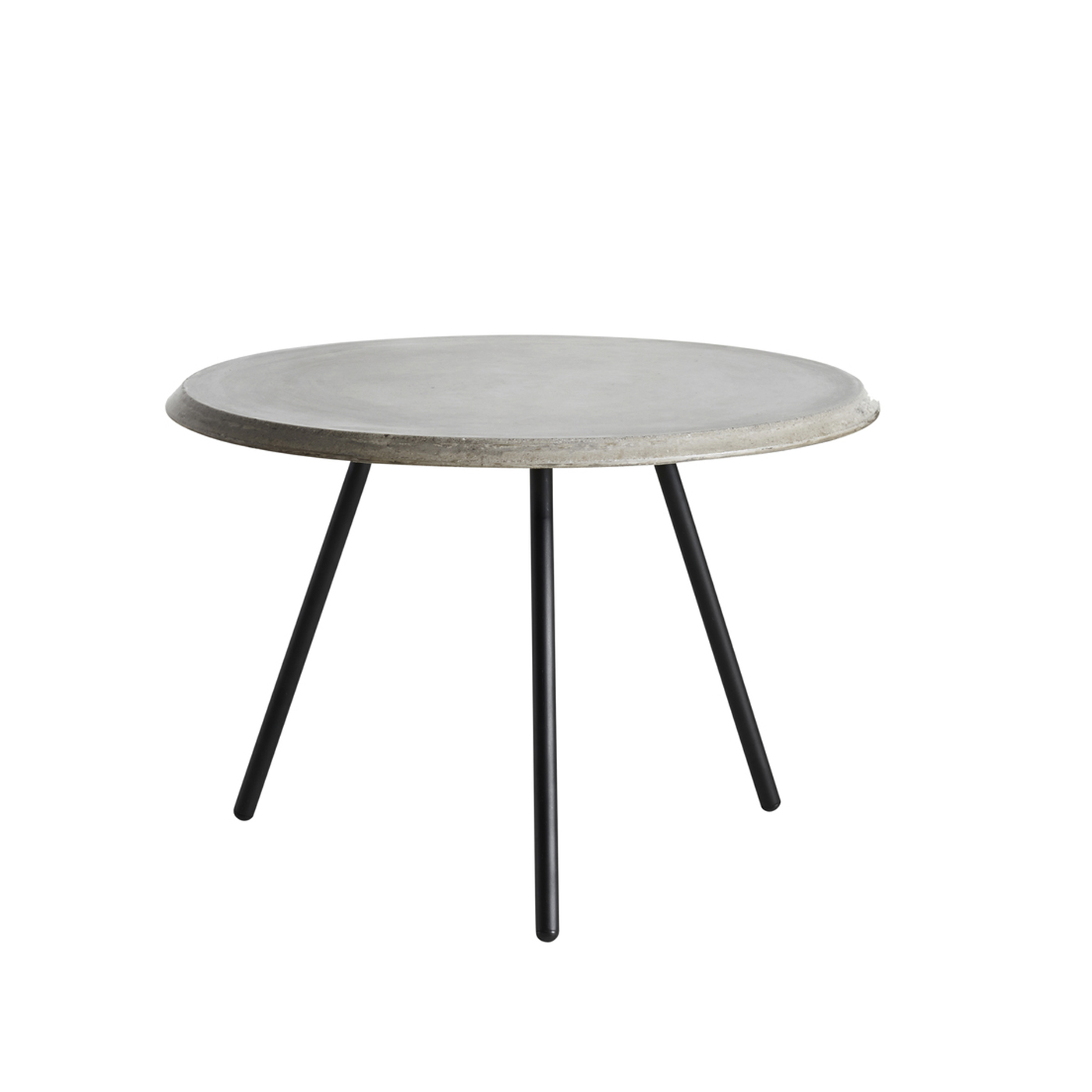 WOUD Soround lav sofabord - grå/sort fiberbeton/metal, rund (Ø60)