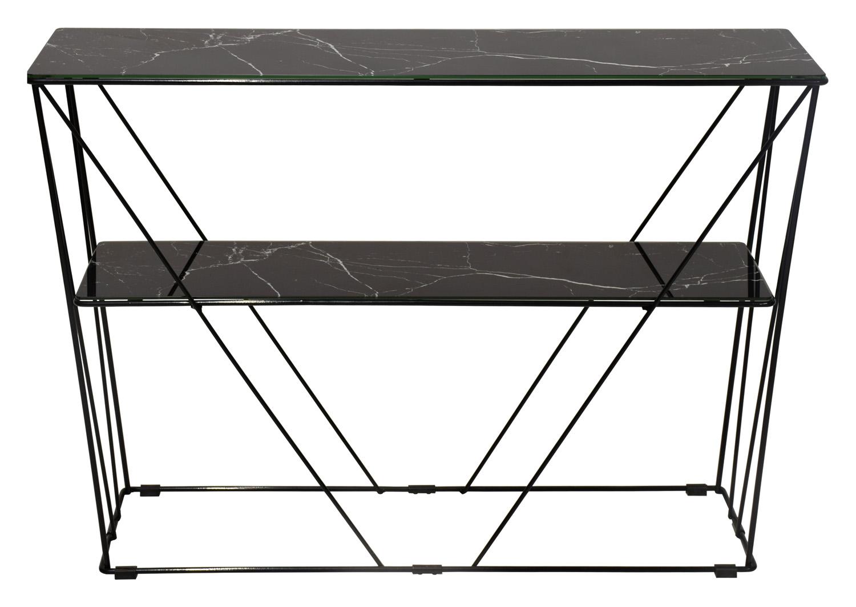 RGE Cube konsolbord - sort marmorfolie/glas og sort metal, m. 1 hylde (100x25)