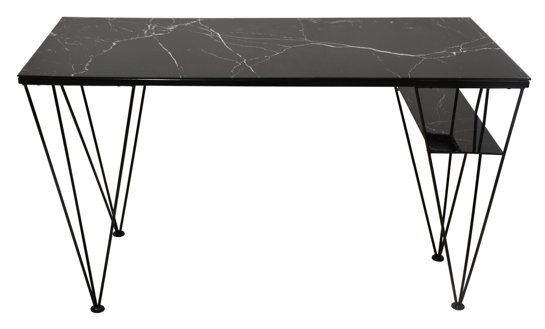 RGE Cube skrivebord - sort marmorfolie/glas og sort metal, m. 1 hylde (130x60) thumbnail