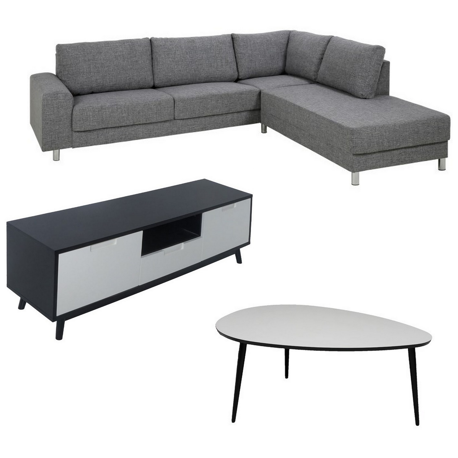 Studenter option 4 - chaiselong sofa + TV-bord + sofabord