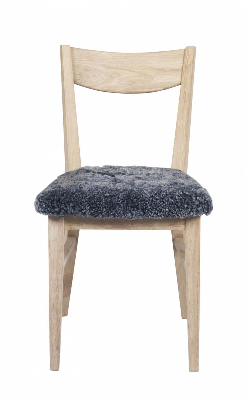 Dylan spisebordsstol - hvidpigmenteret egetræ, grå stofhynde