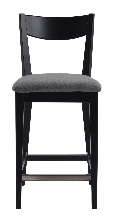 Billede af Dylan barstol - Sort eg, grå stofhynde