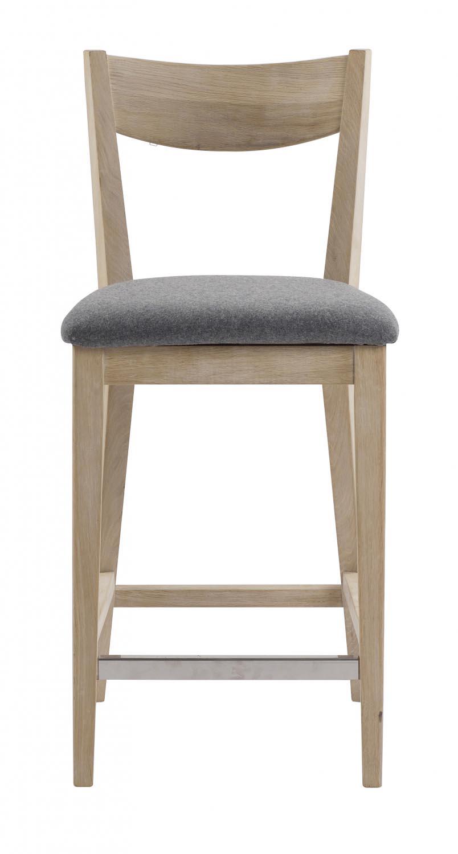 Billede af Dylan barstol - Hvidpigmenteret eg, grå stofhynde