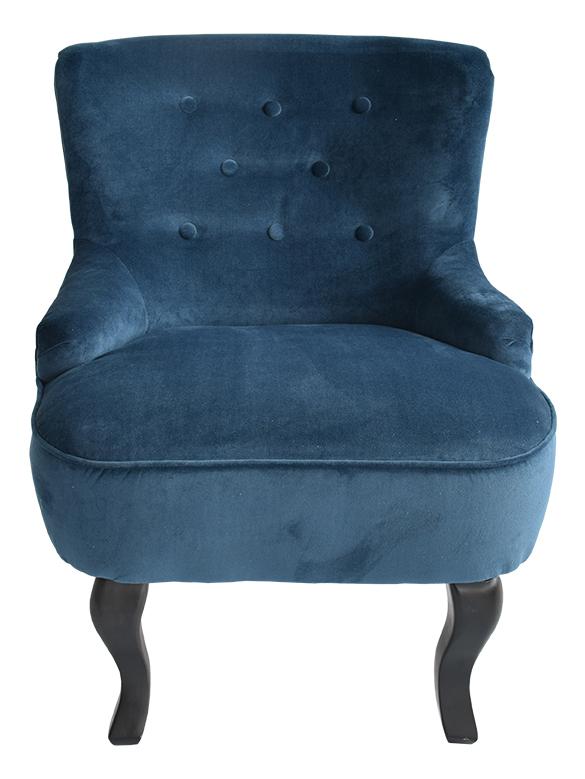 Billede af Amelia velour lænestol, Blå