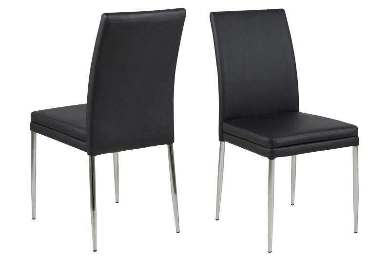 Billede af Jolene sort læder PU spisebordsstol