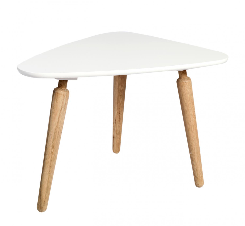 Cappuccino sofabord - hvid/eg, trekantet (L67 H45)