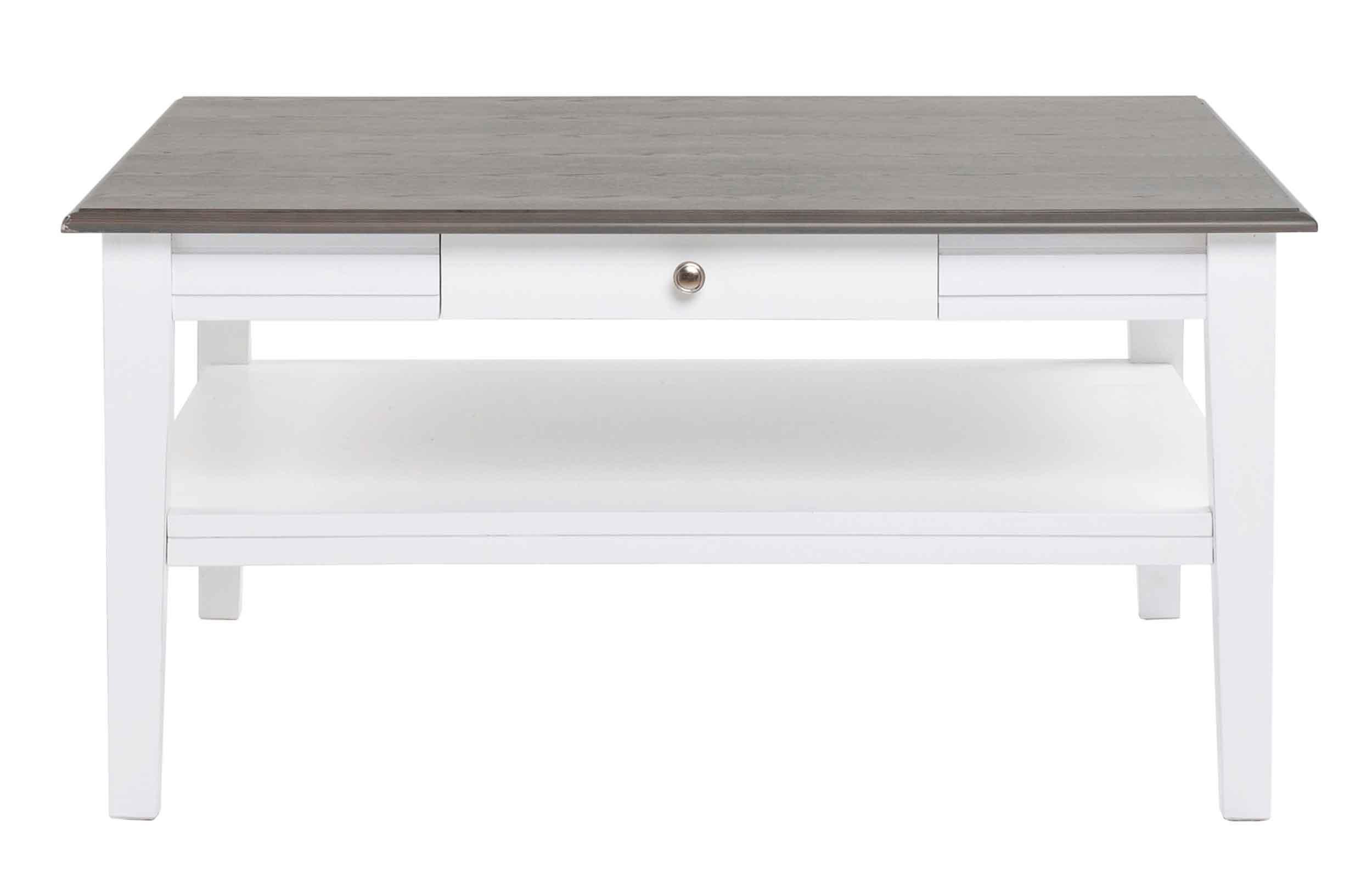 Viktoria sofabord - Hvidt og gråt træ, m. skuffe, 100x100