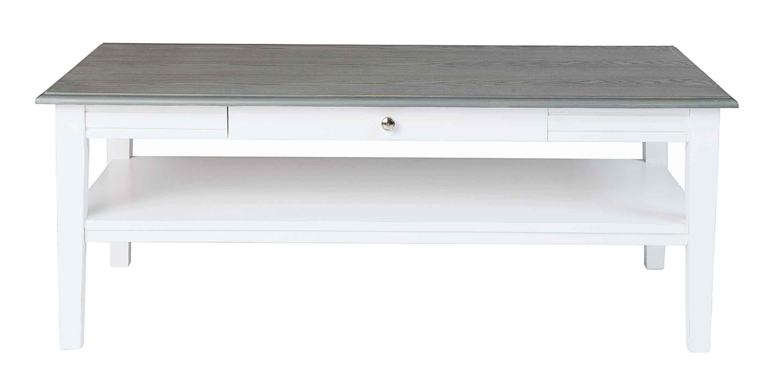 Viktoria sofabord - Hvidt og gråt træ, m. skuffe, 130x70