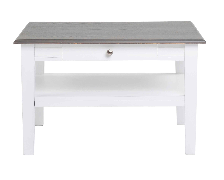 Viktoria sofabord - Hvidt og gråt træ, m. skuffe, 80x80