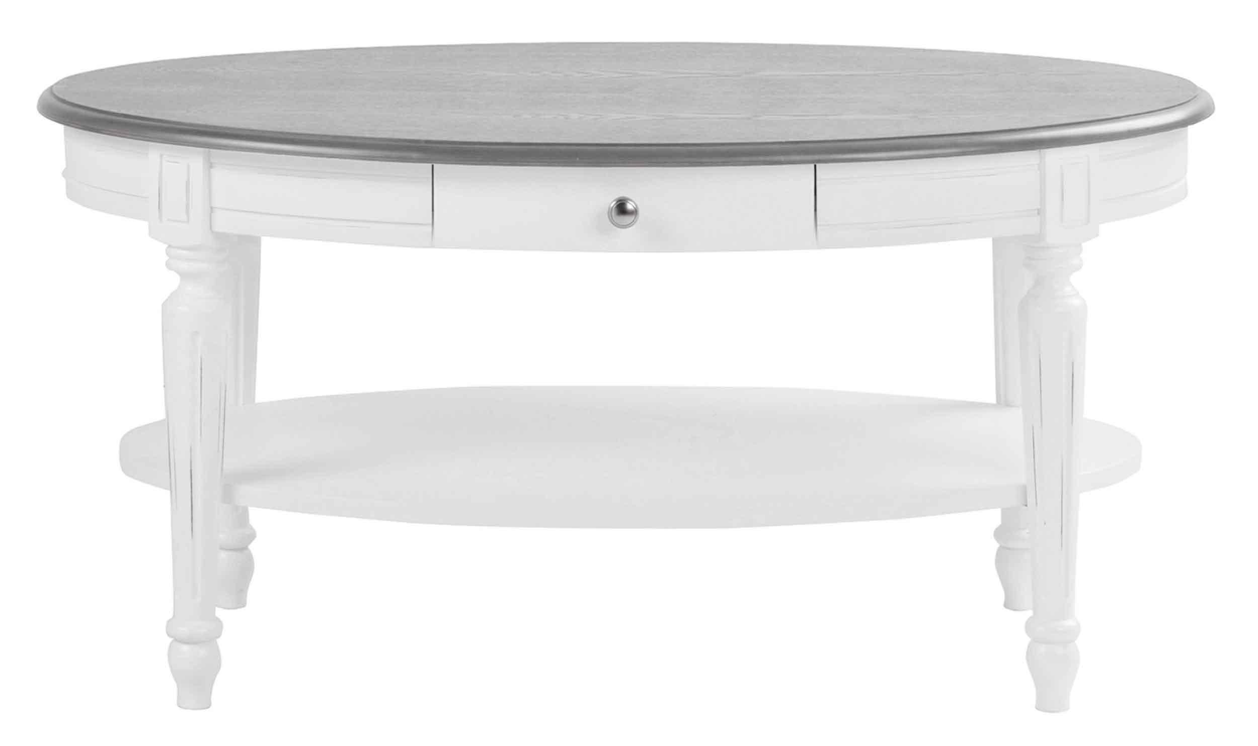 Viktoria sofabord - Hvidt og gråt træ, m. skuffe, ovalt