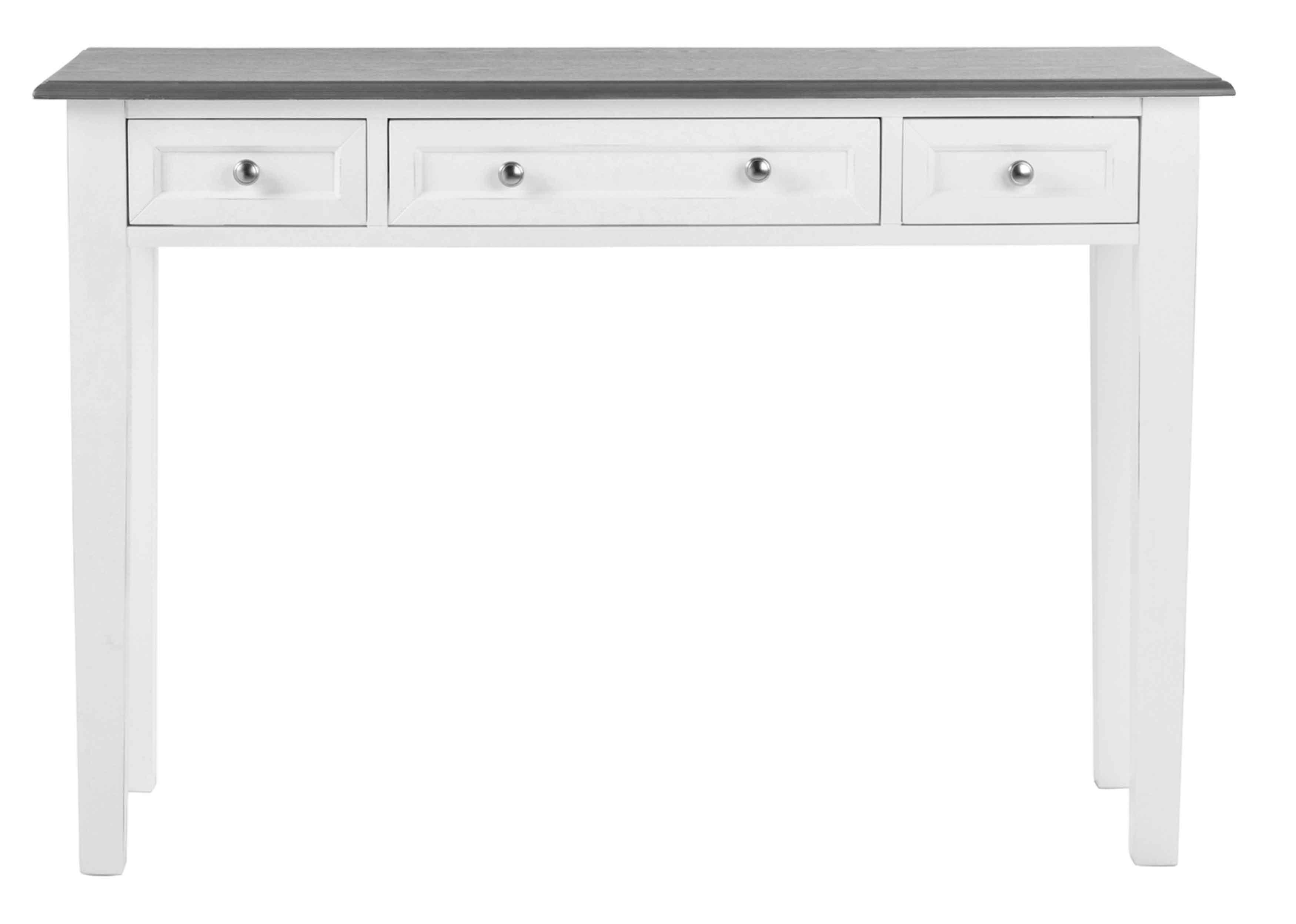 Viktoria konsolbord - hvidt/gråt træ, m. 3 skuffer