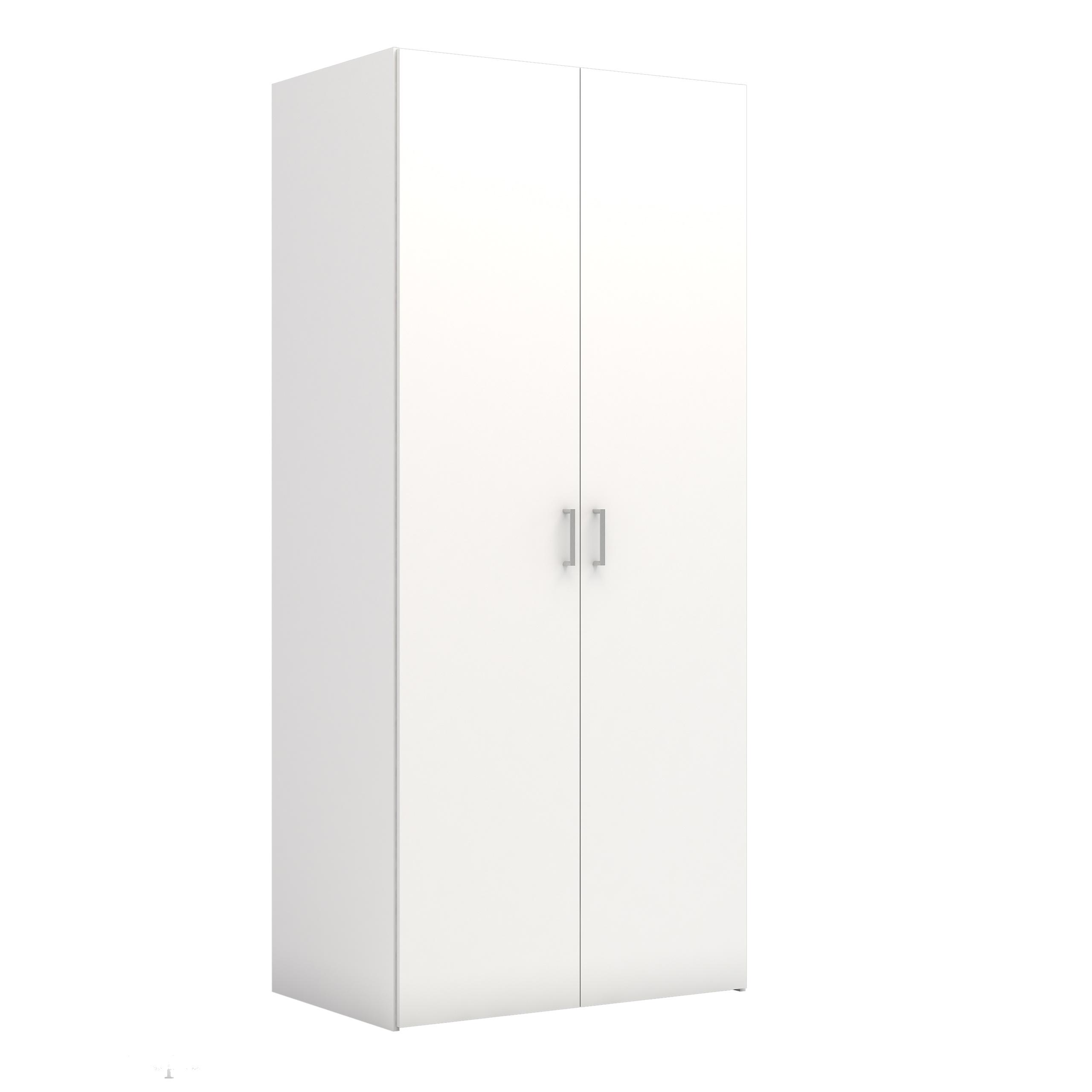 Space garderobeskab hvid 2 låger 5 hylder