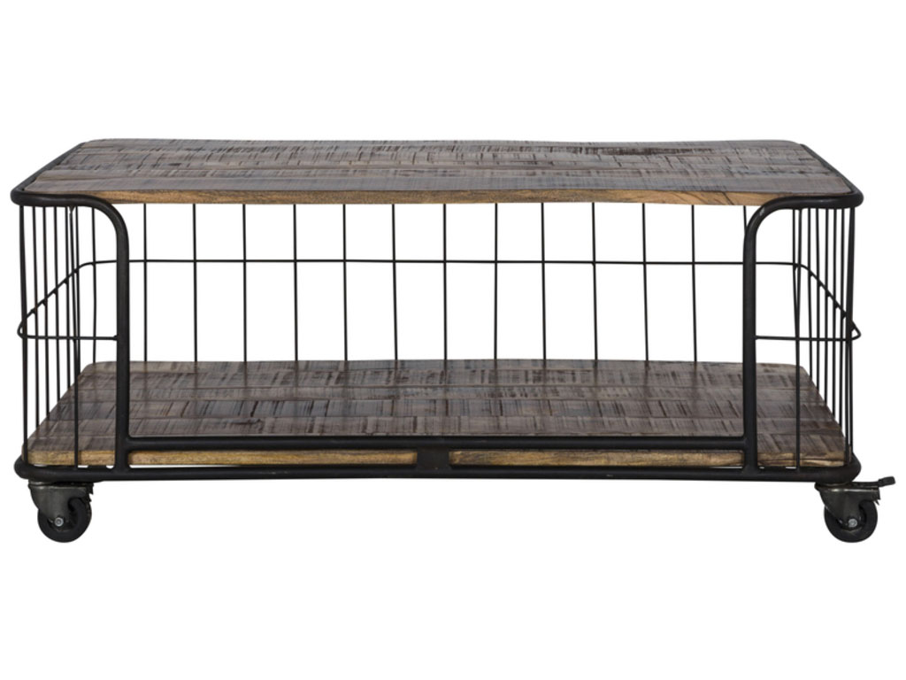 Image of   CANETT Monta sofabord - sort metal/massivt mangotræ, m. hjul