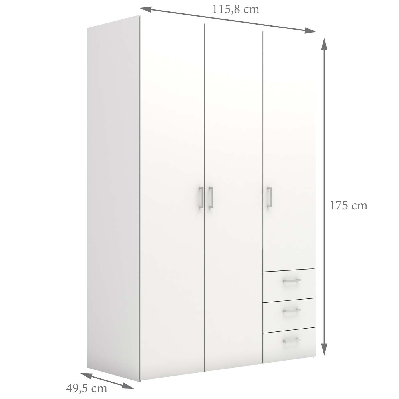 Space garderobeskab hvid 3 låger 3 skuffer 175x115