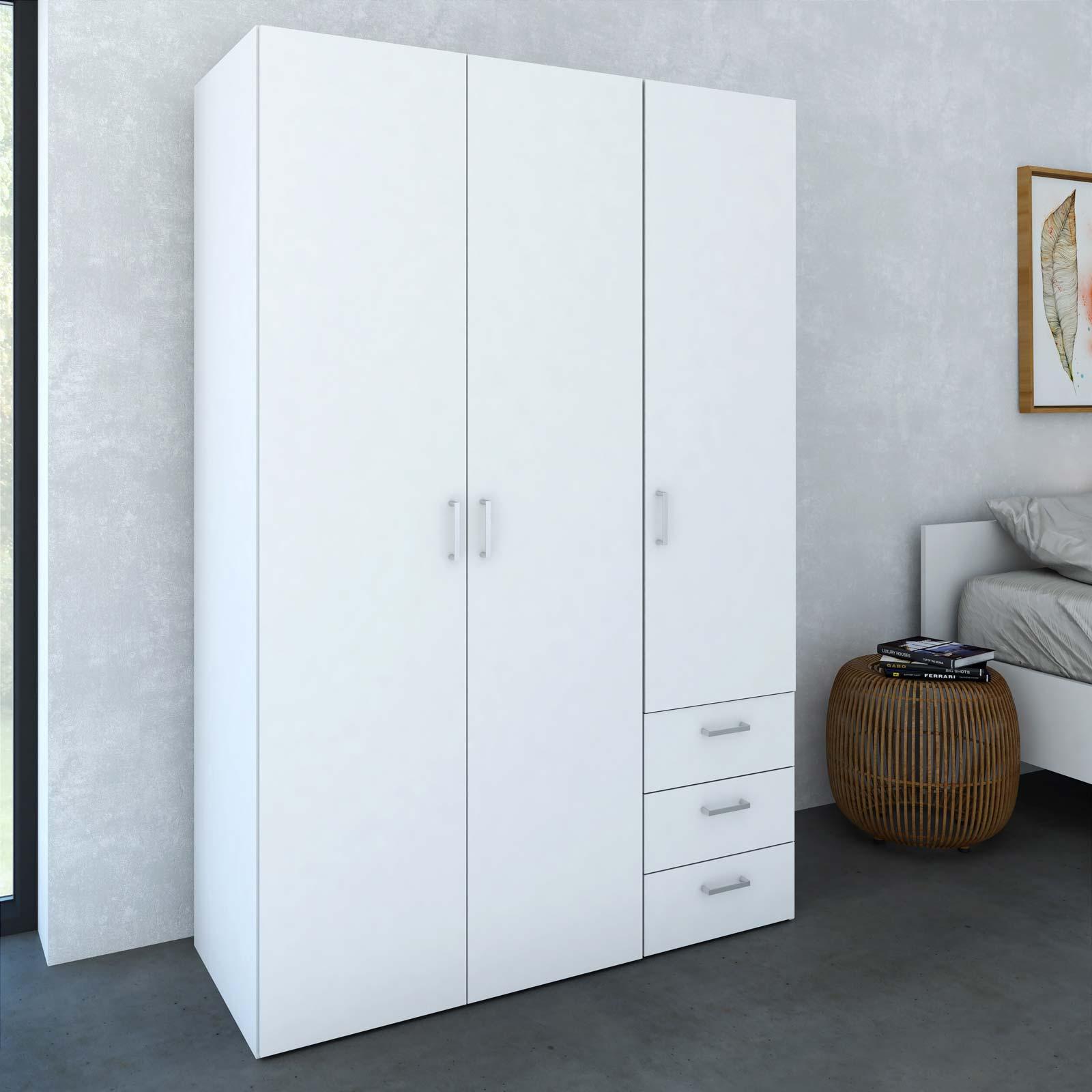 billig garderobeskab Bredt og billigt Space garderobeskab med 3 låger i hvid træ billig garderobeskab