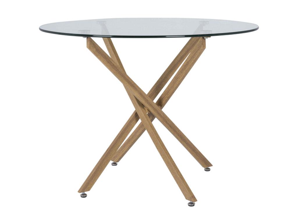 Image of   CANETT Luri spisebord - glas/eg, rund (Ø100)
