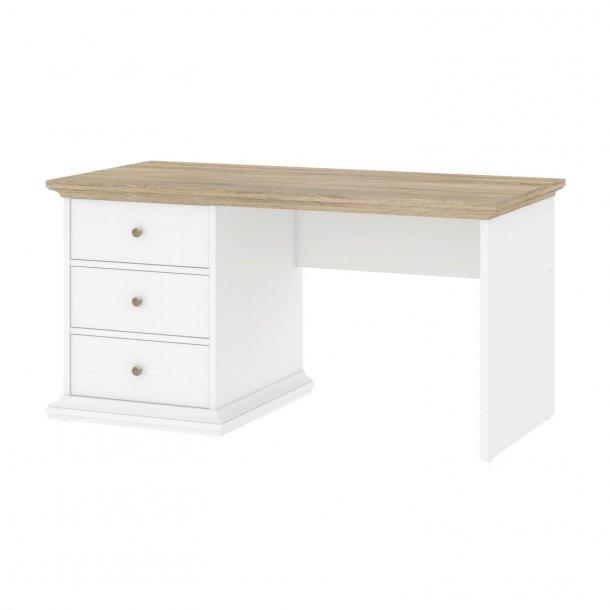 Kjempebra Skrivebord i hvid og eg struktur med tre skuffer JV-04