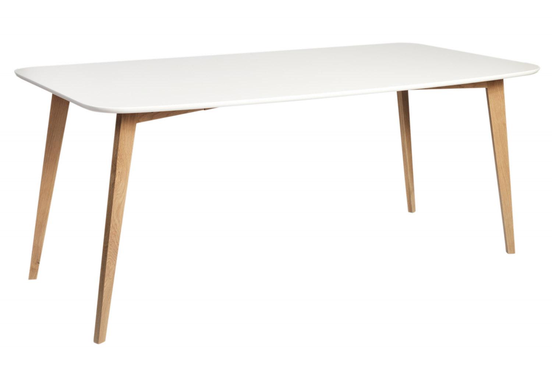 Image of   Arild spisebord - mat hvid/lakeret eg (180x90)
