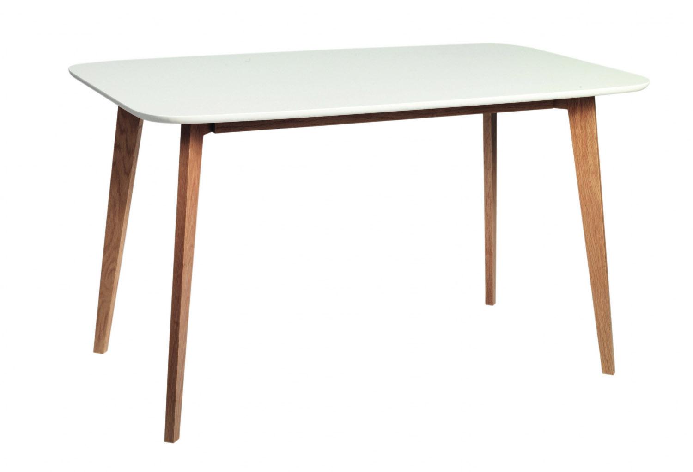 Image of   Arild spisebord - mat hvid/lakeret eg (130x80)