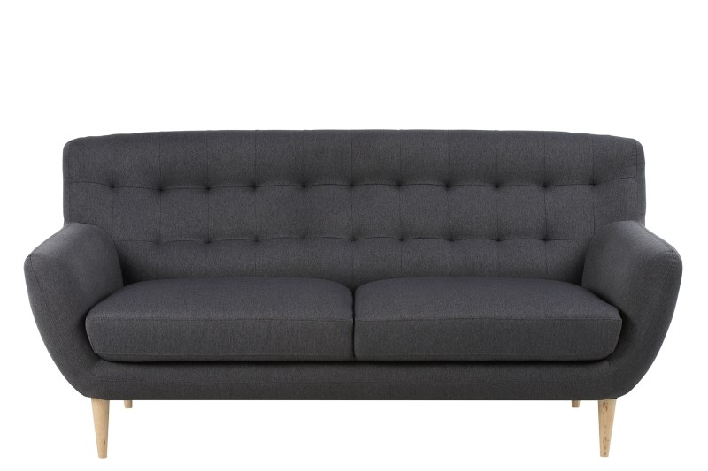 Image of   Oswald 3 pers. sofa - antracitgrå stof m. træben