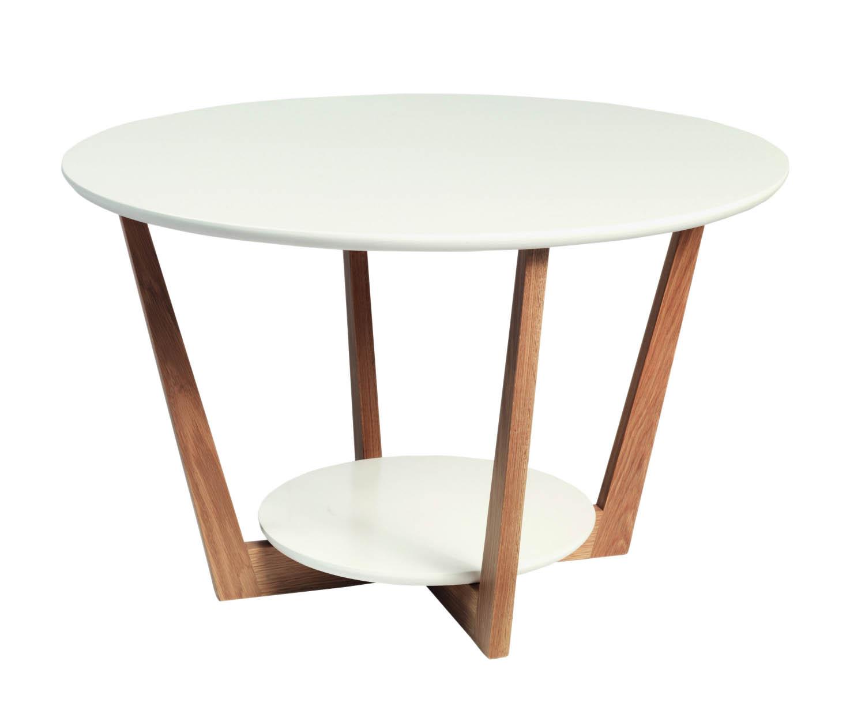 Image of   Arild sofabord - hvid/lakeret eg m. 1 hylde (Ø80)