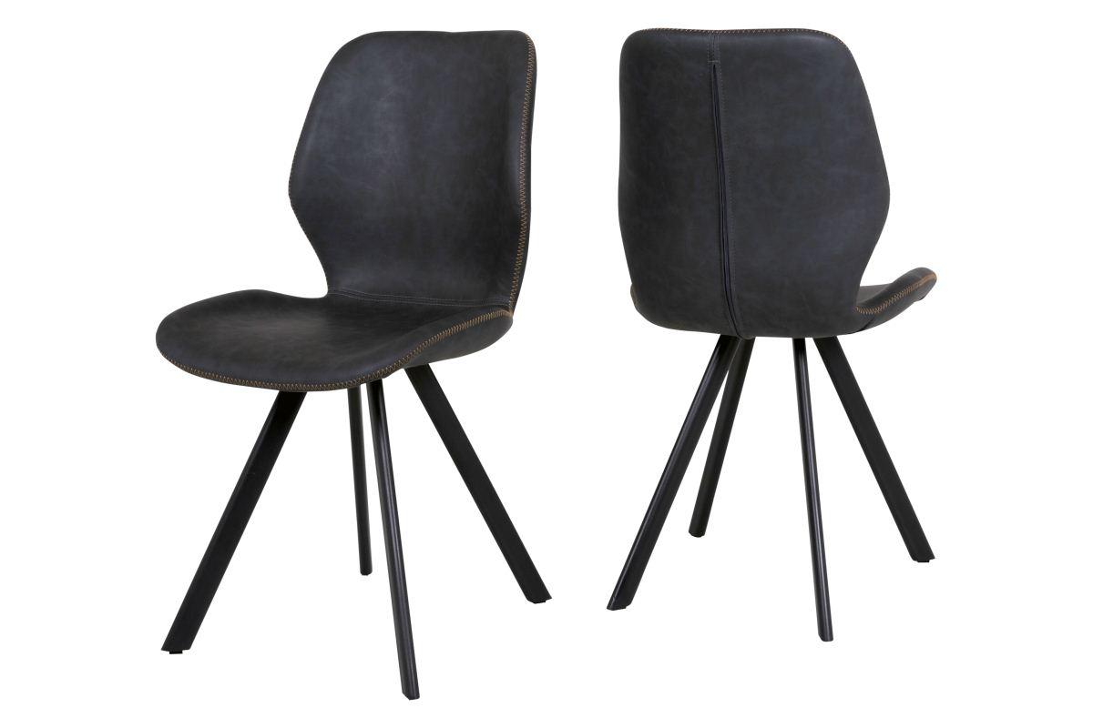 CANETT Sota spisebordsstol - gråt kunstlæder og sort metal