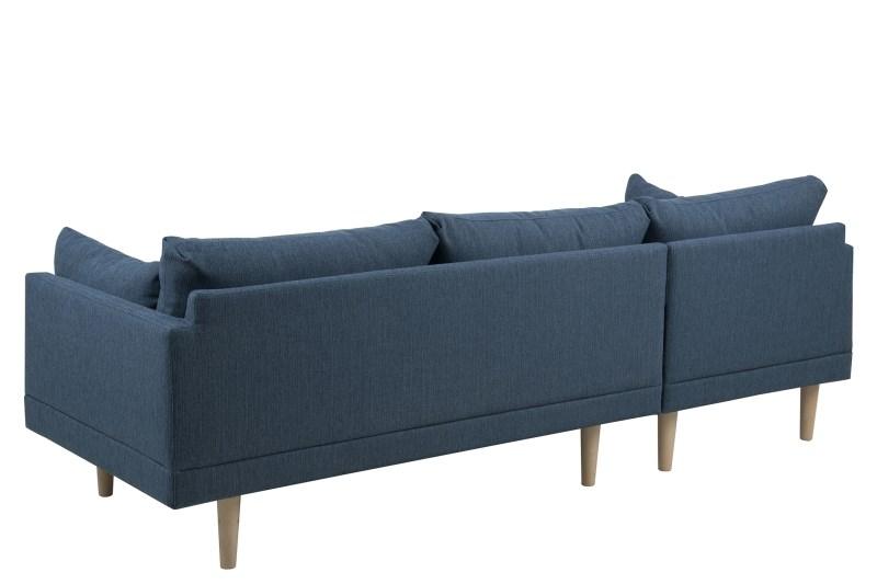 Sunderland 2 pers. sofa - blå stof m. bøgetræsben, chaise i venstre