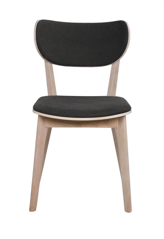 Rowico Rowico Cato Spisebordsstol - Hvidpigmenteret Eg Og Mørkegråt Stof Spisestue