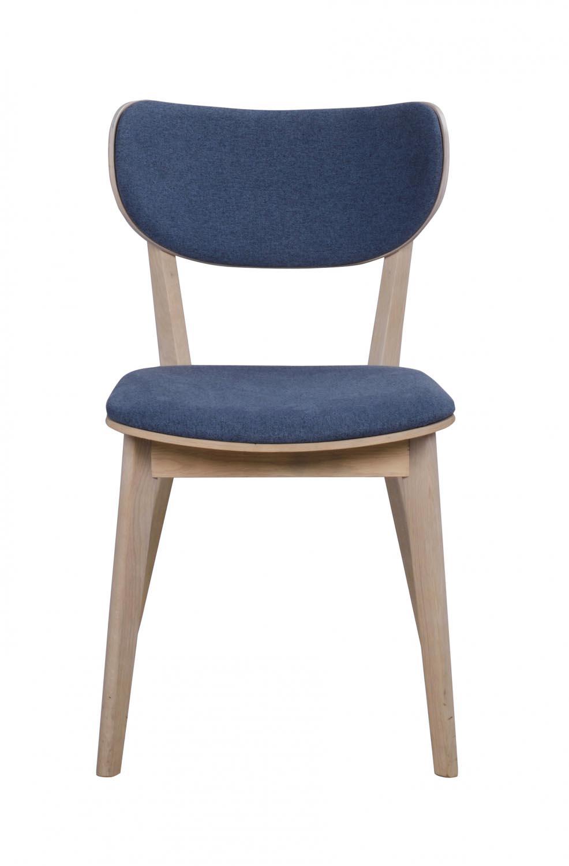 Cato spisebordsstol - hvidpigmenteret eg og blåt stof