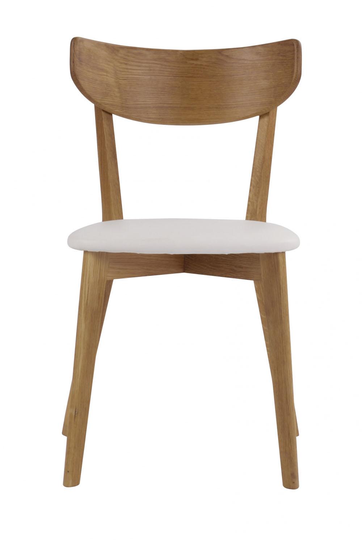 Image of   Ami spisebordsstol - lakeret eg og hvidt PU læder