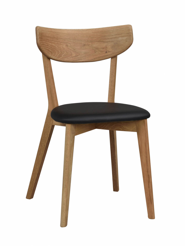 Godt Ami spisebordsstol - lakeret eg og sort PU læder - Spisebordsstole QP32