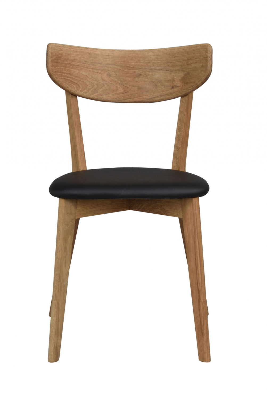 Image of   Ami spisebordsstol - lakeret eg og sort PU læder