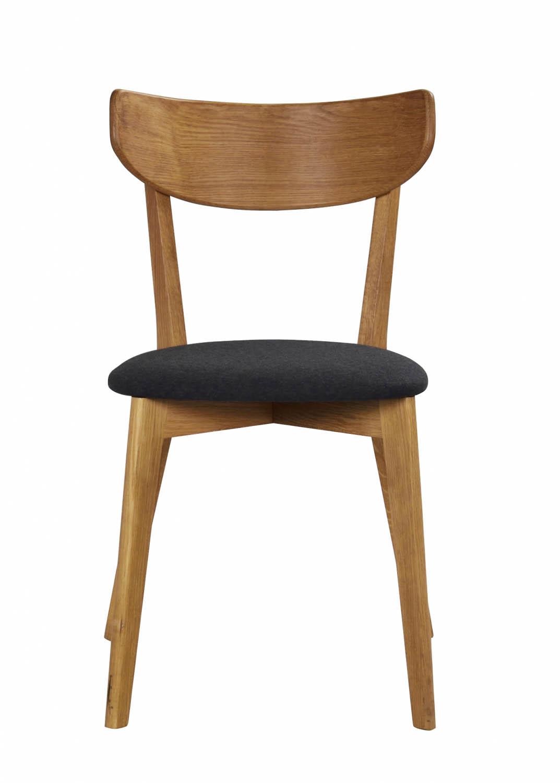 Image of   Ami spisebordsstol - lakeret eg og mørkegråt filt