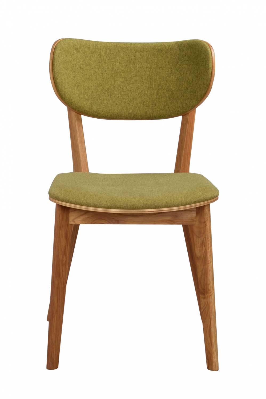 Cato spisebordsstol - lakeret eg og limegrønt stof