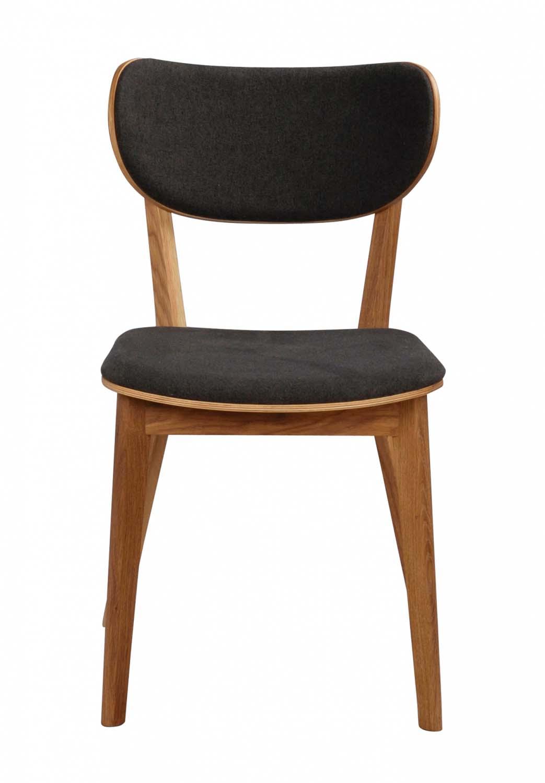 Cato spisebordsstol - mørkegråt stof og lakeret eg