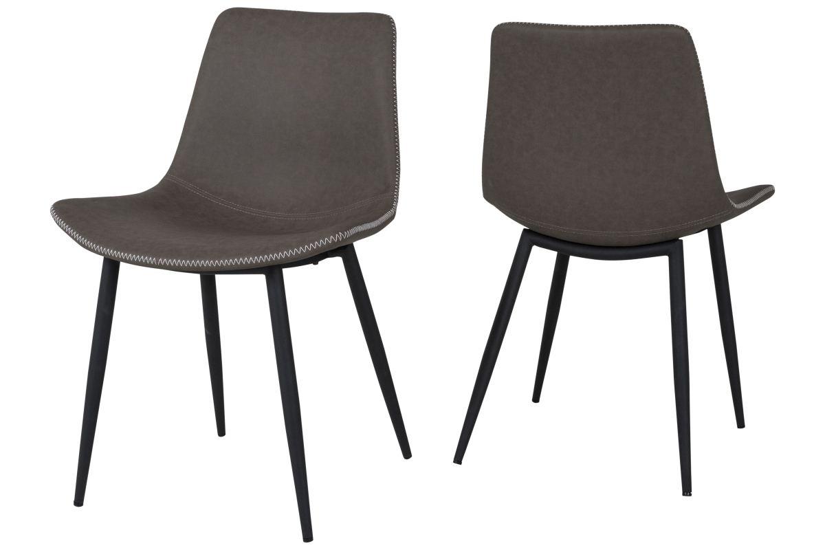 canett – Canett rodi spisebordsstol - brunt kunstlæder m. lyse syninger og sorte metalben på boboonline.dk