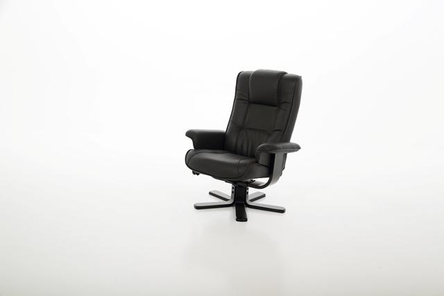 Limbo reclinerstol  - Sort læder, stel af træ, m. fodskammel