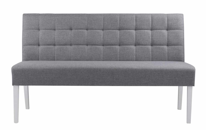 Leila sofabænk - grå stof/hvide ben