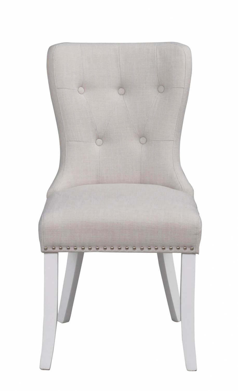 Ina spisebordsstol - offwhite stof og hvide ben, m. nitter