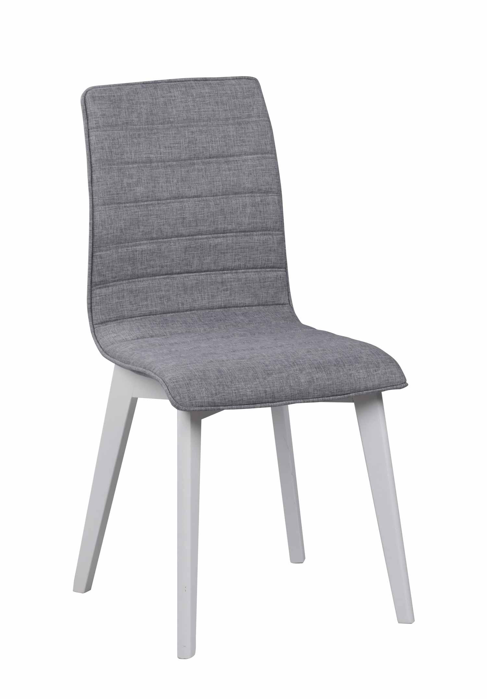 ROWICO Gracy spisebordsstol - lysegråt stof/hvidlakeret birk