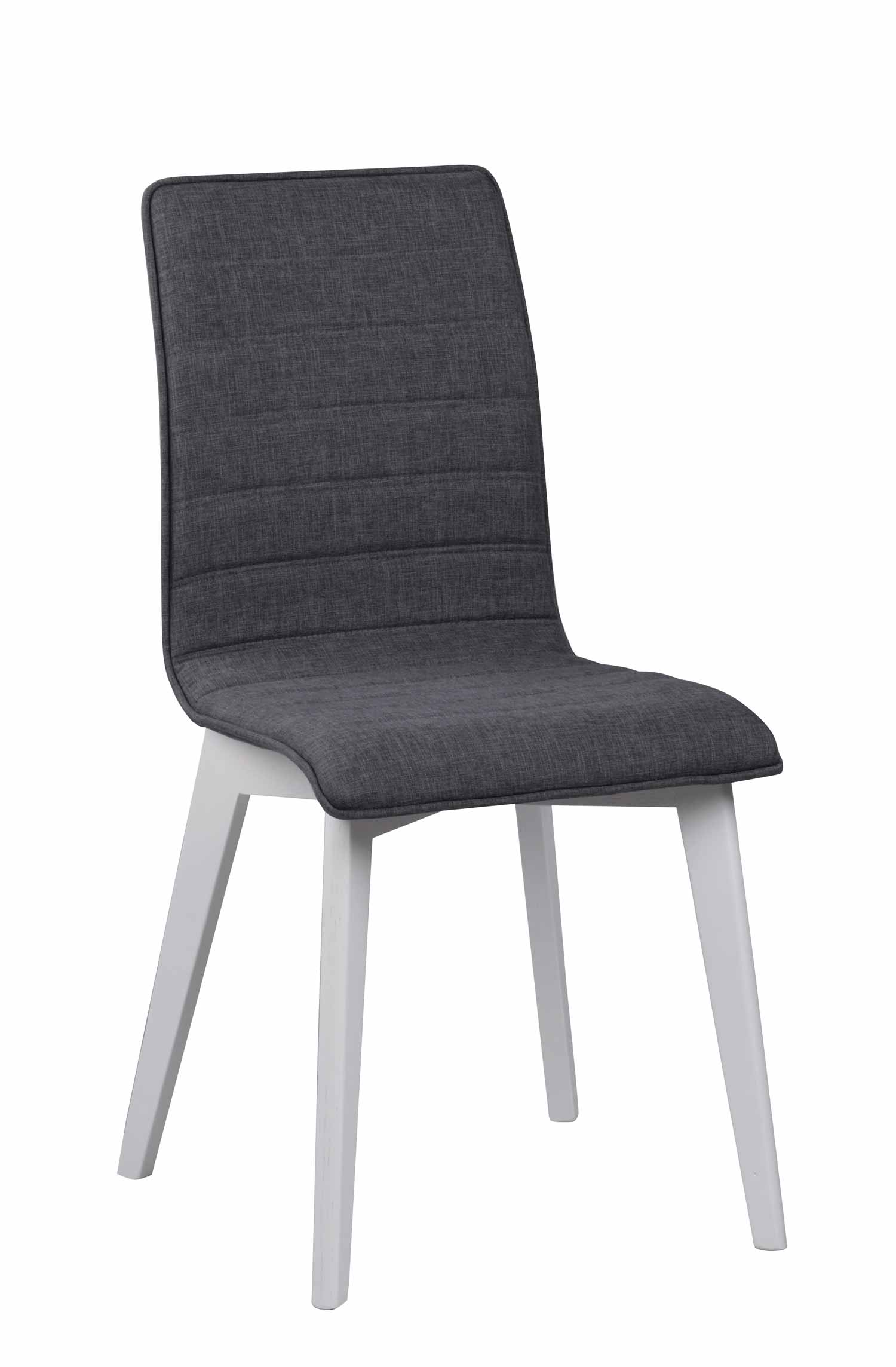 Grace spisebordsstol - mørkegråt stof/hvidlakeret birk