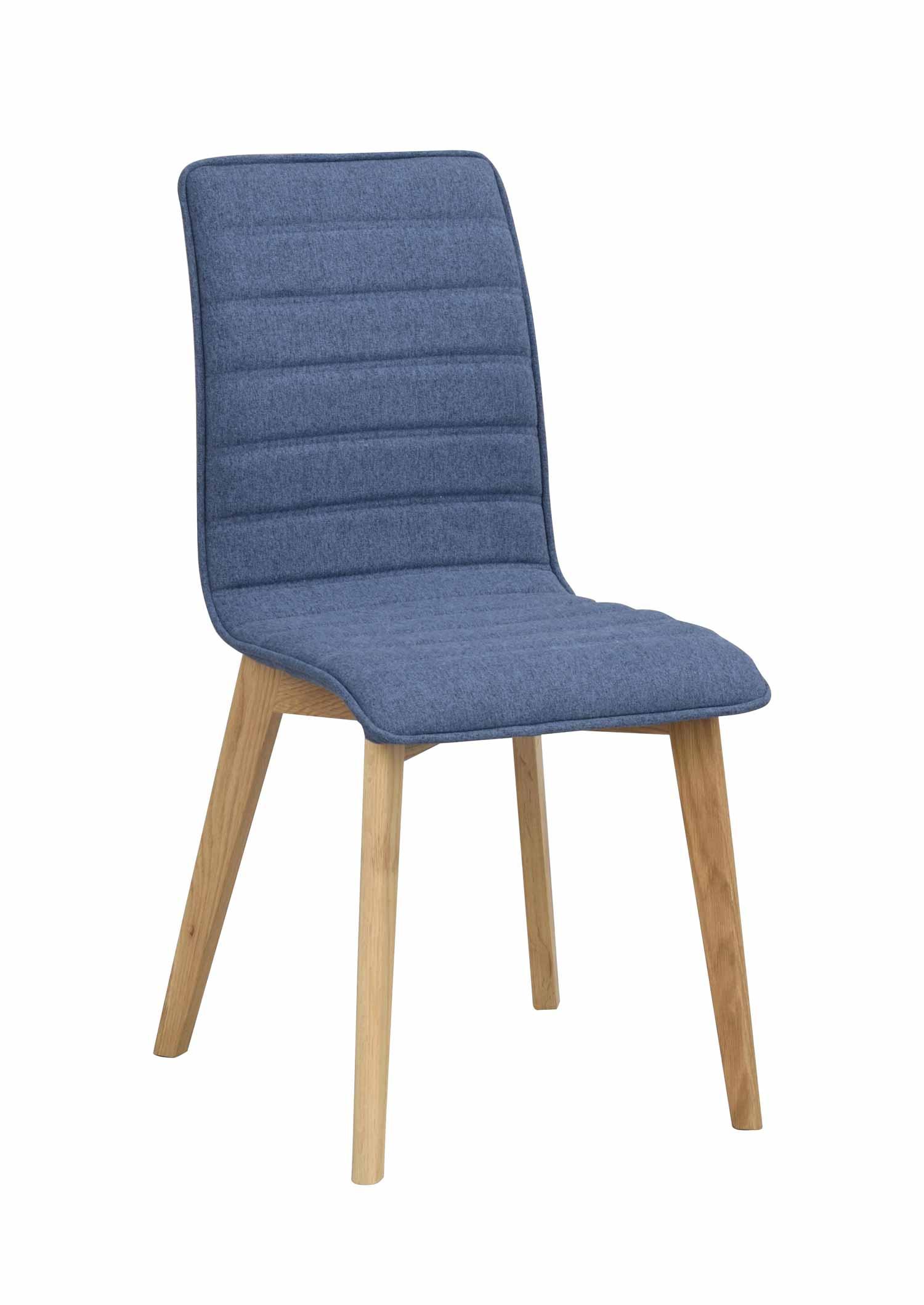 Grace spisebordsstol - blåt stof/eg