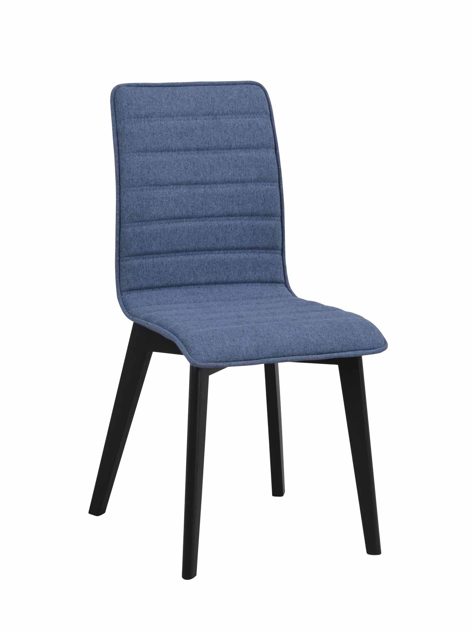 Grace spisebordsstol - blåt stof/sort eg