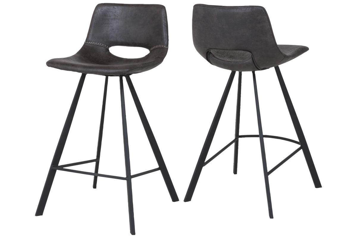 canett Canett coronas barstol - sort læderlook og sort stål, m. fodstøtte på boboonline.dk