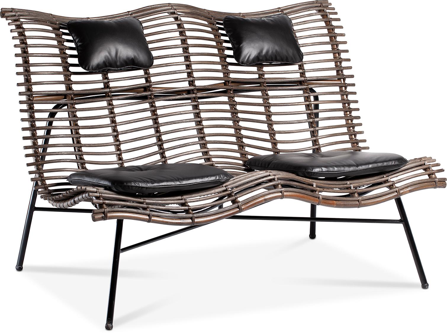 Rge wave 2 pers. sofa - brun/sort rattan/kunstlæder fra rge fra boboonline.dk