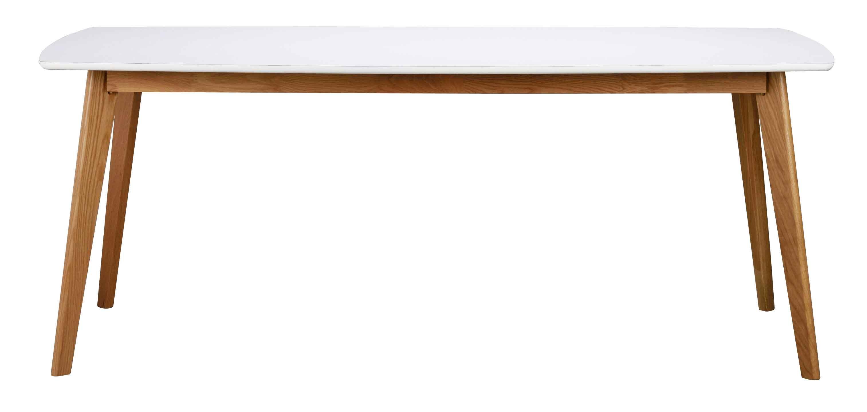 Olivia spisebord - hvid/egetræ, m. udtræk (190x90)